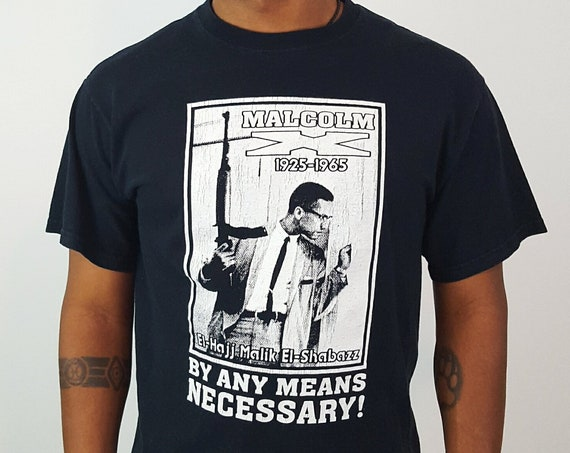 Vintage Malcom X Tee Shirt Adult Medium - By Any Means Necessary Black Crew Neck Tee - Short Sleeve Graphic Tshirt