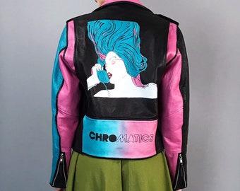 Chromatics Hand Painted FMC Leather Motorcycle Jacket Womens Medium - Pastel Synth Pop Electronic Band Custom Feminine Leather Moto Jacket