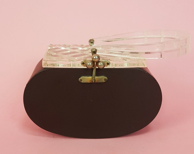 60's Vintage Brown Hard Oval Purse - Round Retro Box Purse with Clear Crystal Lid - Small Clutch Evening Bag