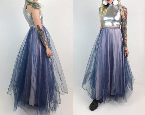 "Handmade High Waist Tulled Maxi Skirt XS Prom Style Fancy Skirt Bottom - Pink Blue Cotton Candy Skirt - Girly Tulle Vtg Skirt XS 25"" Waist"