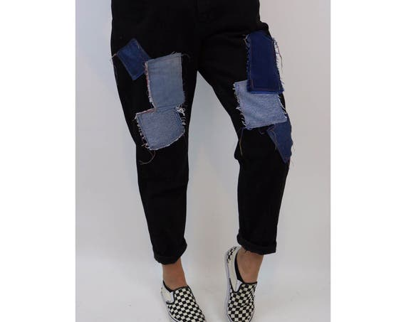Vintage Size 14 Large High Waist 90's Patchwork Jeans - Black Denim Reworked Patched Denim - Highwaisted Mom Grunge Tapered Jeans Upcycled