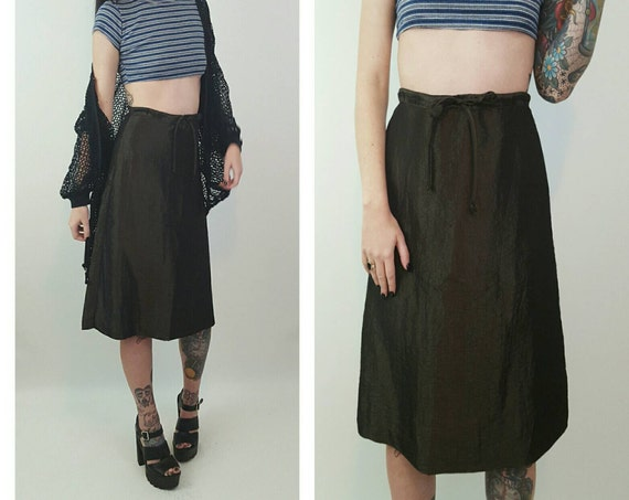 90s Shiny Olive Green High Waist Midi Skirt Small - A-Line Midi Skirt Basic Skirt - High Waist Cyber Iridescent Skater Girl Ripstop Skirt