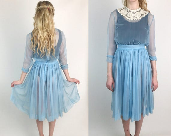Handmade Sheer True Vintage Long Sleeve Baby Blue Pastel Dress US 6/8 - Romantic Girly Feminine Lolita Tea Length 50s/60s Retro Fashion