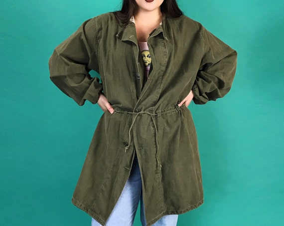 80s Authentic Military Uniform Jacket Maternity Drab Womens One Size - Singed Waist US Army Olive Green Button Front Vintage Veteran Jacket