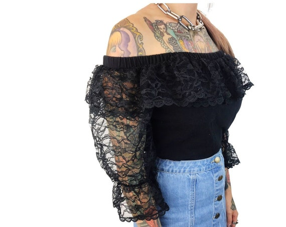 80's Black Lace Off The Shoulder Romantic Sheer Crop Top Medium Women - Black Lace Bohemian Goth Crop Top - Black Ruffle Neck Lacey Boho VTG