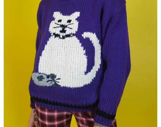 80s Vintage Purple Knit Cat Pullover Sweater Small Medium - Vegan Acrylic Jumper Sweater - 1980s Chunky Knitted Cat & Mouse Sweater