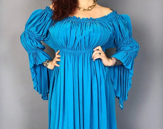Handmade SILK Renaissance Dress Ruffle BOHO Maxi Dress M/L - Off the Shoulder Sky Blue Festival Dress  - Long Rare Romantic Floor Length