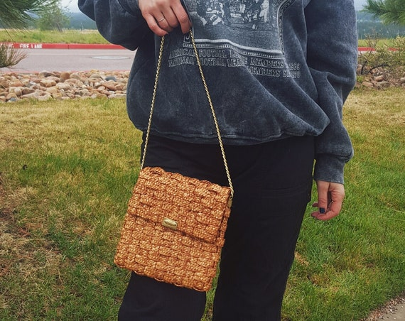 1960s Vintage Light Brown Basket Wicker Bag - Gold Chain Strap Small Handbag Purse - 60s Vtg Natural Tan Front Flap Woven Textured Bag