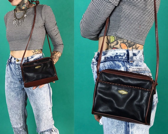 90's Black Faux Leather Everyday Purse - Small Leather Preppy Clueless 90's Cute Basic Hipster Purse - Black Brown Zip Up Cross Body Bag