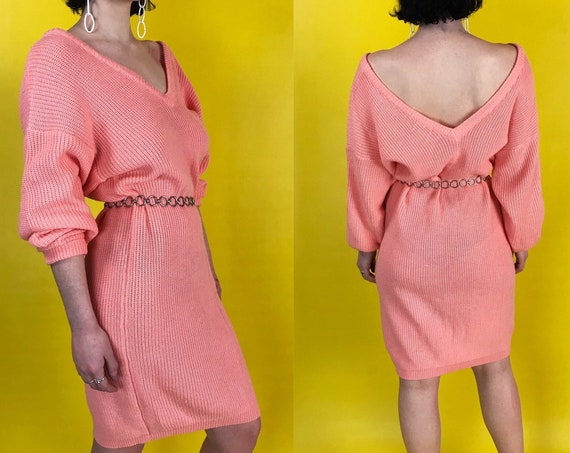 80's Pink Acrylic Slouchy Knit Sweater Dress Medium - Long Line knitted Pullover Shirt Dress - Vintage Long Sleeve Pastel Knee Length Dress
