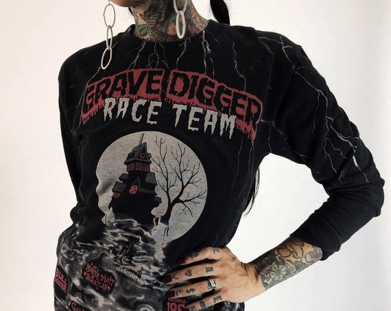 GRAVEDIGGER T-Shirt Black Long Sleeve Womens XS/S - Lightning Bolts Allover Print Grave Digger Tee - Vintage Motorsports Grunge Iconic Shirt