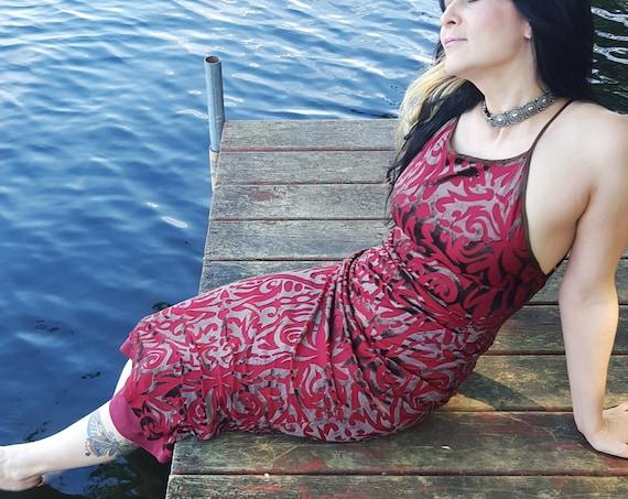 Betsey Johnson Sheer Maroon Maxi Dress Small- Spaghetti Strap Party Dress with Velvet Tribal Tattoo Overlay - Sleeveless Red Maxi Dress