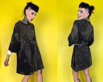 Black Tie Dye Bleached Vintage Tee 6XL Adult Tall - Unisex Tie Dye Grunge Health Goth Plus Size Streetwear Crew Neck Shirt Dress Rustic