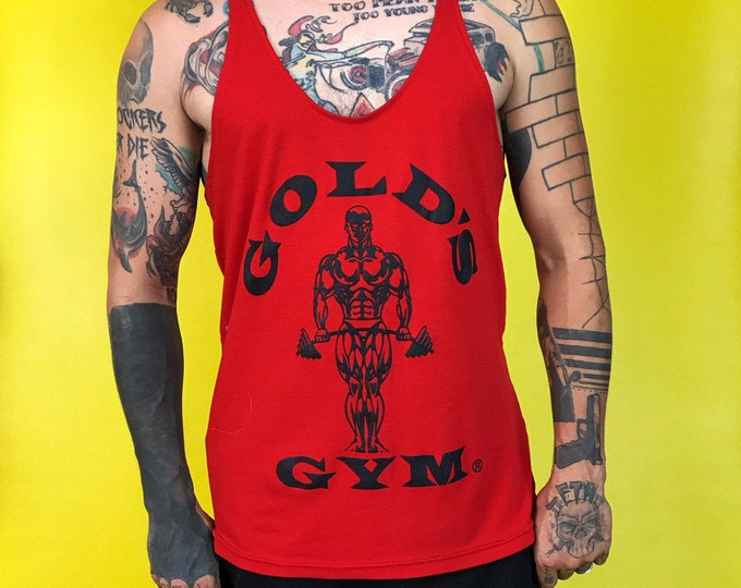 80s Gold's Gym Muscle Work Out Tank Mens Medium - VTG Iconic Red Black Razorback Mens Graphic Gym Tank Sleeveless Body Building Fitness Wear