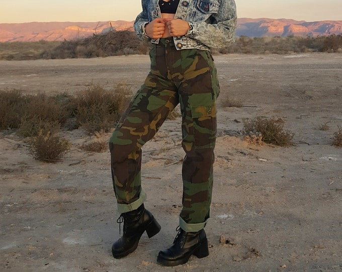 Authentic Military Cargo Pants Small High Waist - Authentic Camo Army Camouflage Pants Highwaisted Olive Drab Green Camoflauge Pants