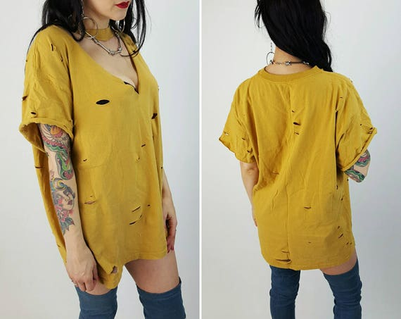 Vintage Mustard Yellow Holey Choker Neck Cut Out Cropped Short Sleeve Tee - Large Vintage Womens Grunge Hippie Cut Out Spring Summer Style