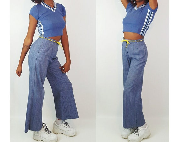 70s Vintage Blue & White Vertical Striped Cotton Trousers XS Small - 1970s Stripe Casual Flare Leg Pants - VTG Funky Trousers With Pockets