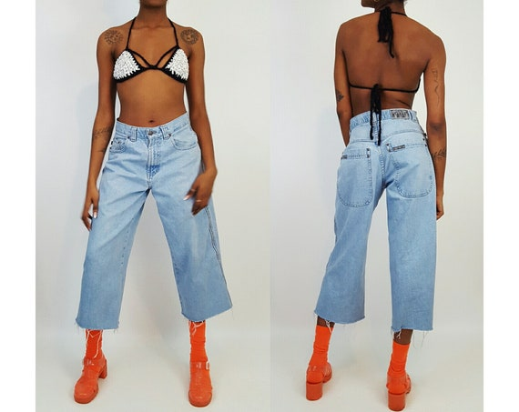 90's Ultra Wide Leg Denim Light Wash Small Medium - Vintage 1990's Skater Pants Grunge Raw Hem Jeans - Women's Cropped Denim Frayed Pants