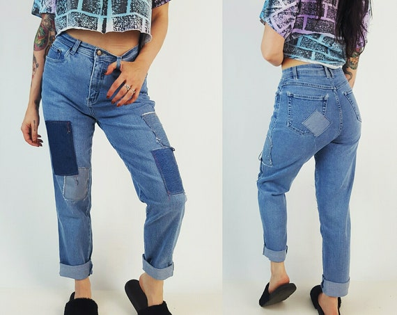 Vintage Size 8 Medium High Waist 90's Patchwork Jeans - Blue Jean Reworked Patched Denim - Highwaisted Mom Grunge Tapered Jeans Upcycled