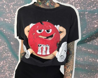 Shredded 90's M&M Holey Distressed Cropped Tee Medium - Front And Back Print Humor Candy Chocolate Shirt Naturally Distressed Black T-shirt