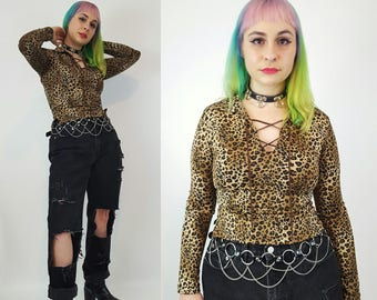 90's Leopard Print Top Small Medium - All Over Print Lace Up Cheetah Pattern Long Sleeve Shirt - 1990's Animal Print Womens Collared Tee