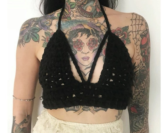 HANDMADE 90's Style Knit Bra Top - Womens Small Black Summer Crochet Bralette - Open Back Bra Top Ecofriendly Boho Festival Crop Top