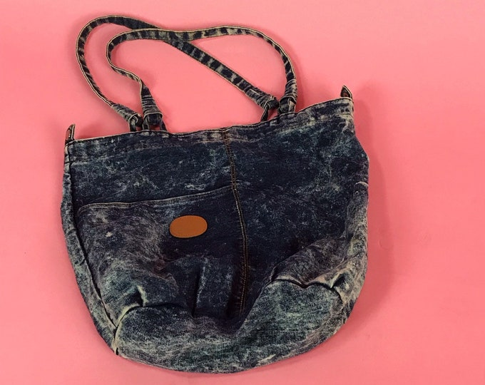 80 s Acid Wash Large Denim Tote - Large Denim Shoulder Bag Purse - Slouchy  Acid Wash 2ee31e30f0c3d