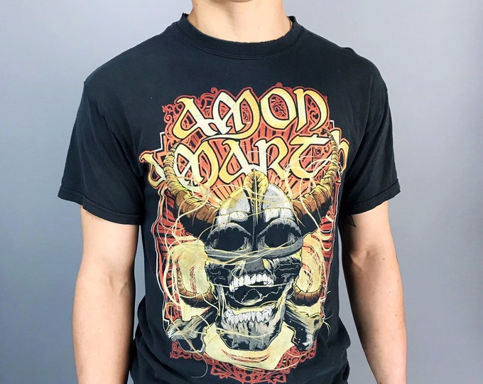 Amon Amarth Band Tee - Death Metal Band Shirt Black Faded Medium - Swedish Death Metal Band Amon Amarth- Swedish Black Metal Graphic Band