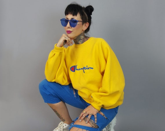 Champion Reverse Weave Crew Neck Pullover Sweatshirt Extra Large - Yellow Cotton Logo Sweater - Embroidered Unisex Jumper Mens Womens