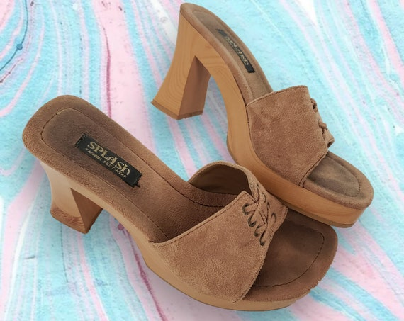 90s y2k Vintage Suede Mule Heels size 5.5 - 1990s Retro Brown Open Toe Mules with Lace-Up Detail - 3.5 Inch Square Toe Mule Sandals