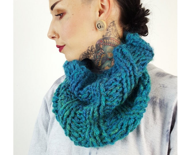 Handknit Teal Ombre Circle Scarf - Boho Hipster Art Fashion Womens Accessory - Turquoise Soft Warm Fall Upcycled Yarn Womens Cowl Scarf