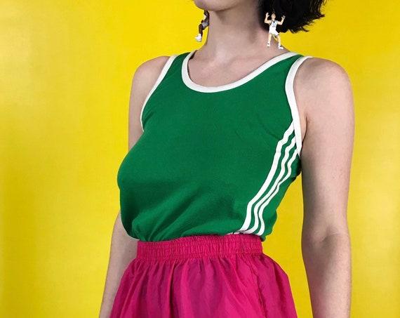 80's Retro Shirt - Kelly Green & White 3 Stripe Sporty Vintage Tank Top S/M - Soft Cotton/Polyester - Boys XL Sears Basic Summer Tank