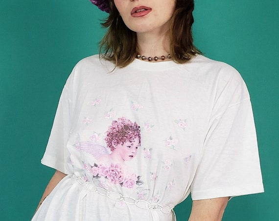 90s Vintage Angel T-Shirt Large XL - White Unisex 1990s Cartoon Cherub Tee - Angelic Romantic Pink Rose Pattern Sparkly Aesthetic Tee Shirt