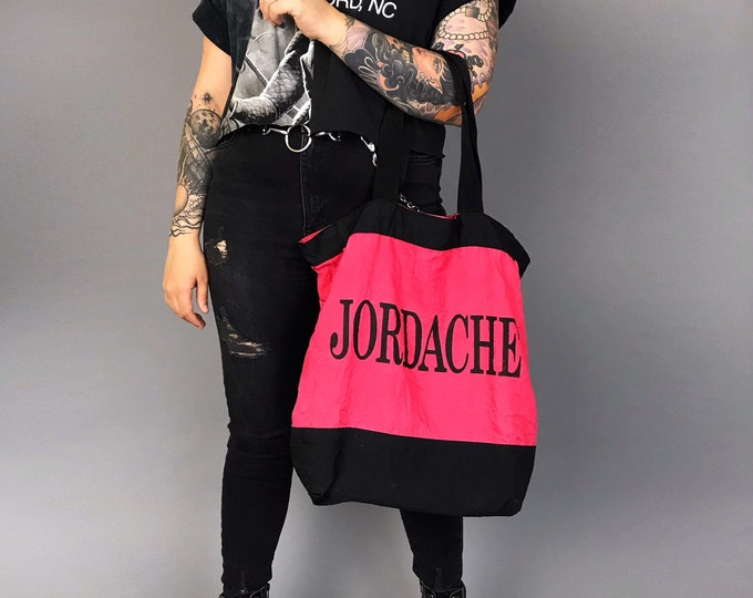90's Jordache Brand Logo Hot Pink & Black Carry All Bag - Slouchy Nylon Neon Oversized Tote Bag Slouchy Brand Name Nineties Large Gym Bag