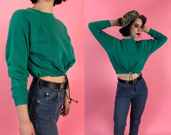 Vintage Reworked Drawstring Waist Cropped Pullover Womens S/M - Teal Green Basic Upcycled Remade Long Sleeve Sporty Grunge Sweatshirt Crop