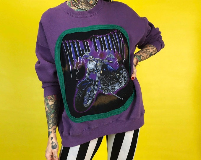 90's WILD THING Biker Sweatshirt Adult Large - Upcycled Harley Motorcycle Graphic Lightning Recycled Remade Pullover Weird Streetwear Trend