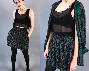 90's Two Piece Matching Skirt & Jacket Set Small - VTG Allover Print Coordinate Mini Skirt Matching Blazer Set - Frayed Raw Hem Mini Skirt