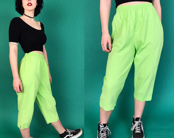 90's Neon Green High Waist Casual Cotton Trouser Pants Small - Vintage Elastic Waist Soft Bright Acid Green Tapered Leg Basic Capri Pants