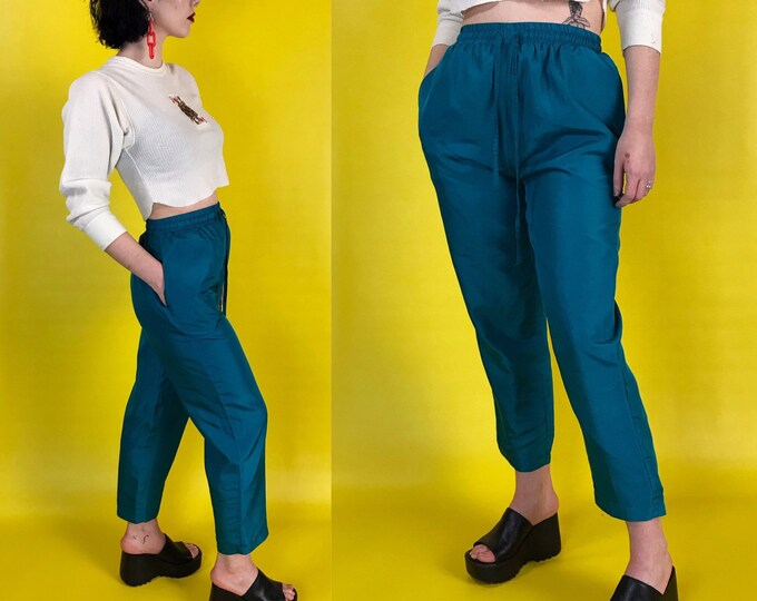 90's High Waist Teal Silk Trousers Womens Small 4/6 - Green Tapered Leg Vintage Casual Pants - Silky Elastic Waist Dress Pants w/ Pockets