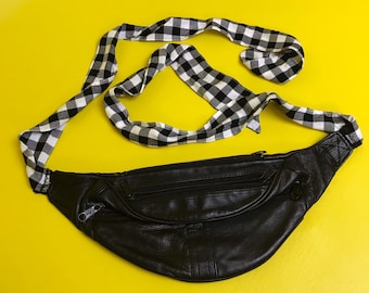 90's Upcycled Tie Back Black Leather Fanny Pack w/ Checkered Print Strap - FUNKY Unique Belt Bag Festival Purse - Remade Vintage Grunge Bag