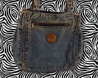 90's Soft Multi Pocket Slouchy Denim Purse - VTG Soft Everyday Worn In Blue Jean Bag Large Roomy Double Strap Spacious Big Pocketbook