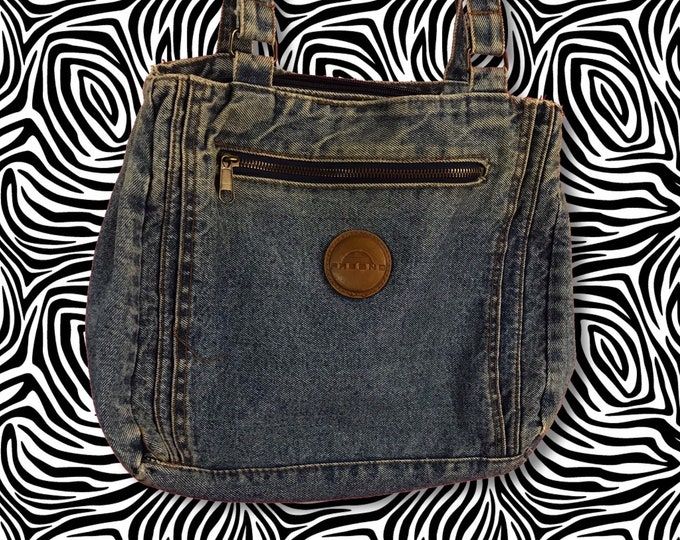 90 s Soft Multi Pocket Slouchy Denim Purse - VTG Soft Everyday Worn In Blue Jean  Bag d214131a4e6aa