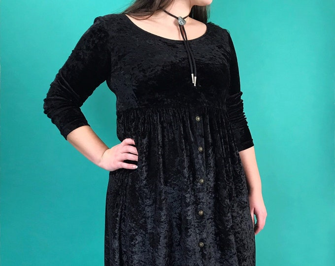 90's Black Crushed Velvet Long Sleeve Babydoll Dress Medium - Button Front Nineties Basic Romantic Goth Witchy Everyday Fall Mini Dress