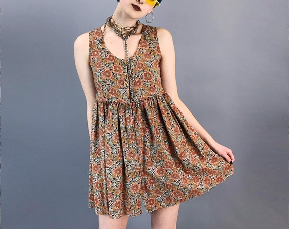 90's Sunflower Babydoll Mini Dress Small - Sleeveless Spring Button Front Brown Floral Comfy Everyday Sun Dress Summer Casual Cute Loose