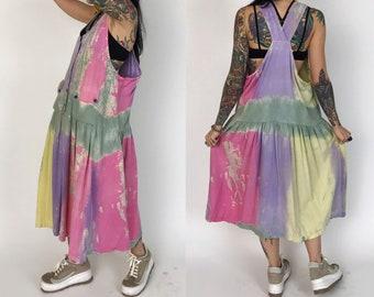 80's Pastel Tie Dye Cotton Jumper Dress Medium - Spring Drop Waist Vintage Tank Sundress Fun Loose Rainbow Midi Beach Dress With Pockets