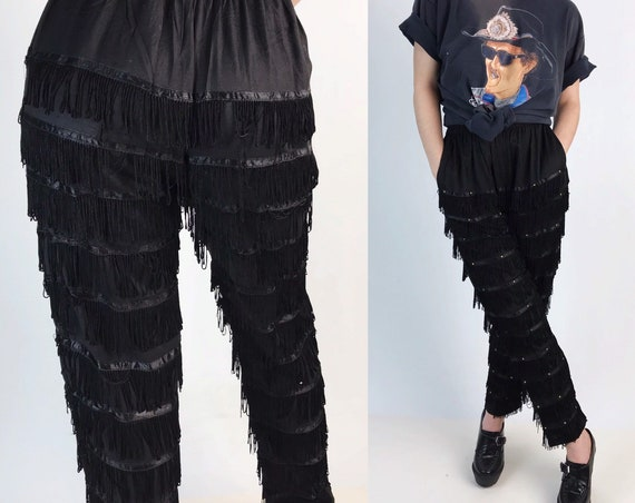 80's Black Fringe Pants S/M - Funky High Waist Fringed Statement Pants - High Waisted Tapered Pants Boho Country Festival Dancing Textured