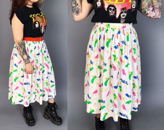 80's High Waist Neon Rainbow Allover Print White Midi Skirt 10/12  - All Over Print Loose Fun Skirt - Colorful Spring Pleated Vintage Skirt