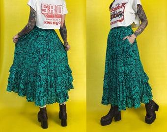 80's High Waist Green Tiered Allover Printed Maxi Skirt Small - Fitted Waist Funky Fun Statement Skirt W/ Pockets Green Black Batik Pattern