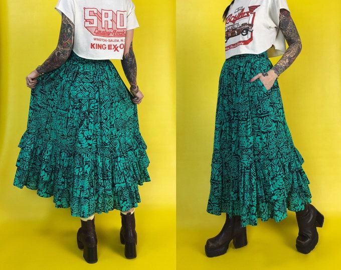 80's High Waist Green Tiered Allover Printed Maxi Skirt Small - Fitted Waist Funky Fun Statement Skirt W/ Pockets Green Black Batik Pattern