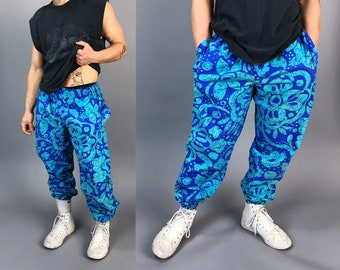 80s/90s All Over Tropical Print Pants Mens Medium- Baggy Elastic Waist Blue Tapered Leg Elastic Ankle Fun Summer Casual Cool Guy Beach Pants